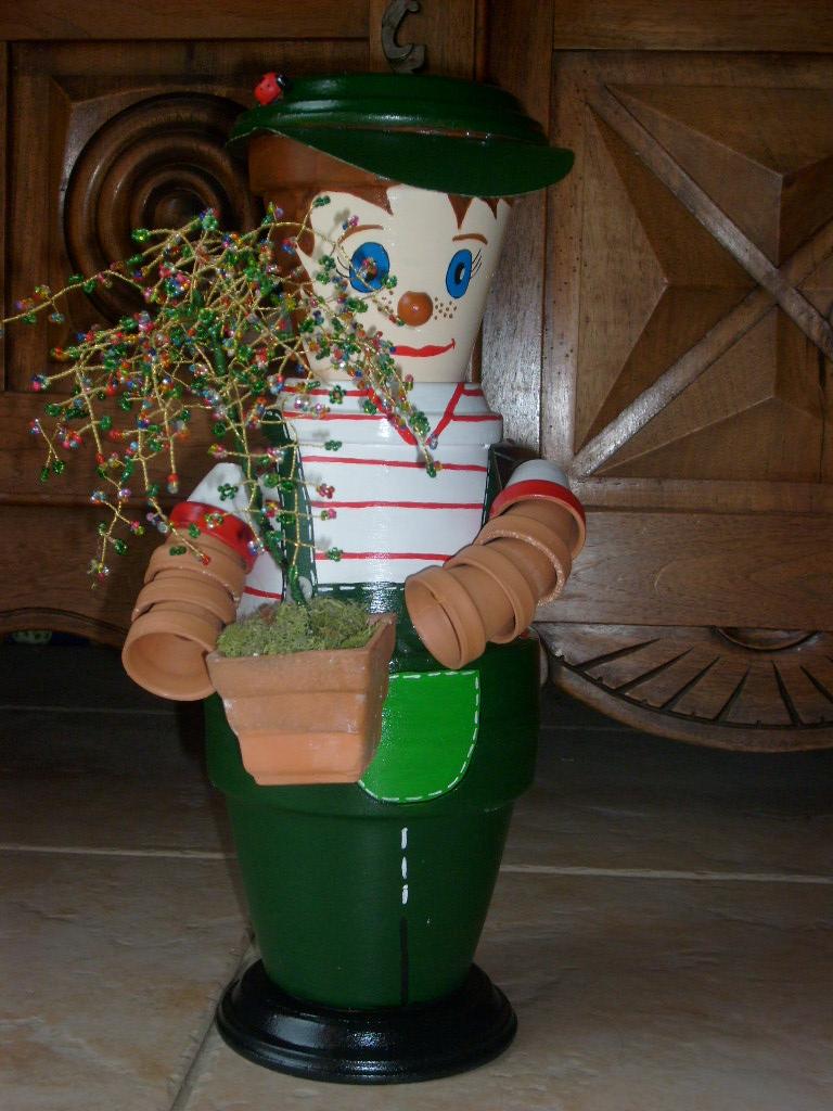 Personnage en pot de terre tout en creativite avec mes - Bonhomme en pot de terre ...